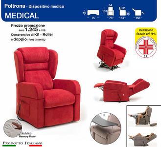 Poltrona Relax Medical Braccioli Estraibili Alzata Verticale cm 10 completa di Alzapersona e Kit Roller 2 Motori e Doppio Rivestimento
