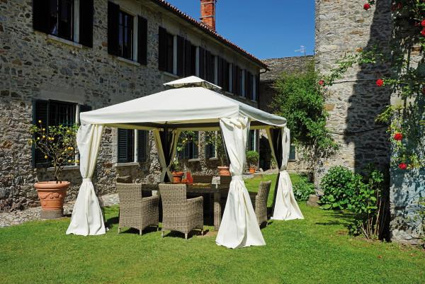 Gazebo per giardino in alluminio professionale Gazebo quadrato 3x3 ecrù struttura alluminio antracite tende laterali GAZ035