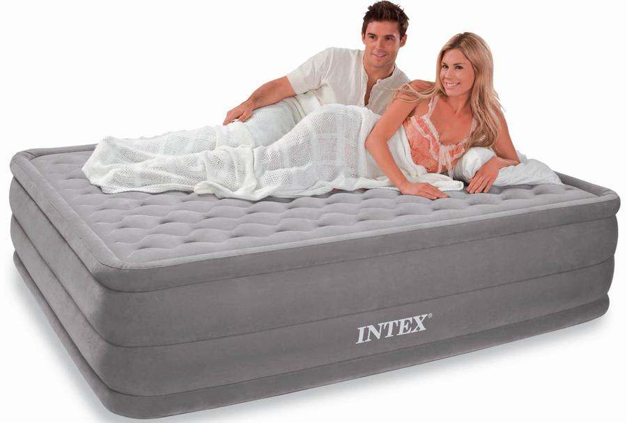 Materasso Intex 64414 Matrimoniale Gonfiabile Letto Campeggio Air Bed Ospiti con Pompa Materasso gonfiabile Intex 64414 152 X 203 X 46cm