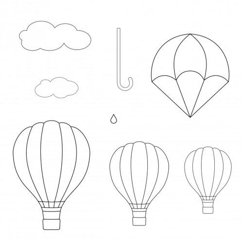 Stampo a impressione ombrello, paracadute, mongolfiera