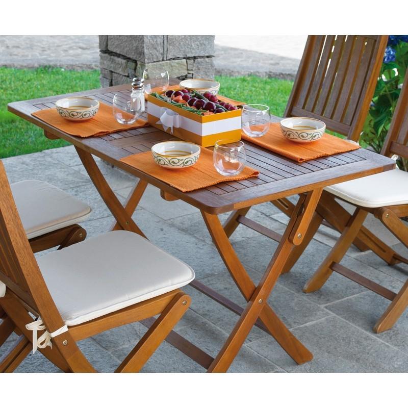 Tavolo in legno acacia CORDOVA pieghevole 120x70 struttura legno acacia esterno FTA310