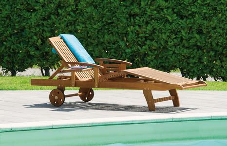Lettini da giardino in legno acacia modello MARBELLA con ruote e braccioli CLA321