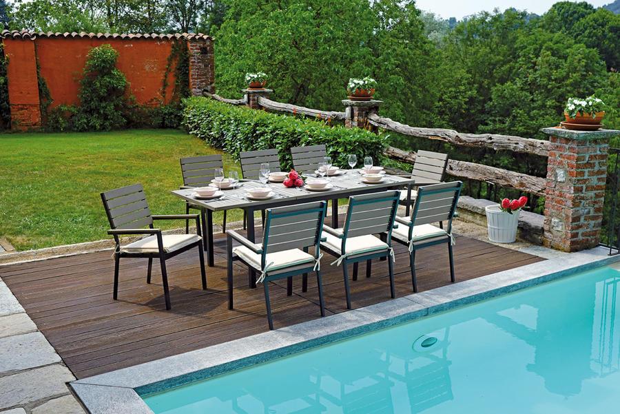 Tavolo da giardino RIOMAGGIORE allungabile impermeabile 150/210 x 89 alluminio resin wood antracite RTE 54A