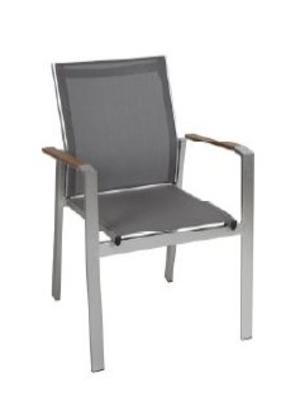 Sedia da giardino impilabile SAINT MORITZ alluminio in resin wood castagno CHE34
