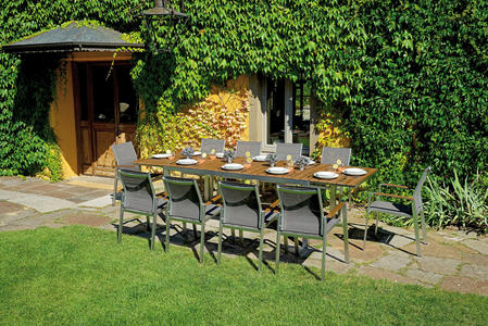 Tavolo da giardino in resin wood Castagno SAINT MORITZ superallungabile 190/240/290 x 100 in alluminio satinato RTE 57