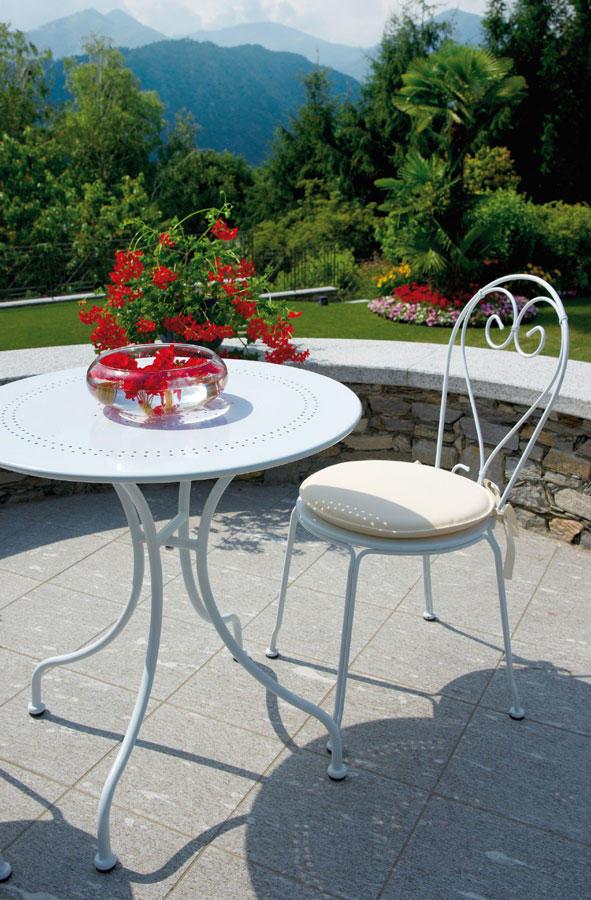 Tavolo tondo splendido tavolo con struttura in ferro color - Tavolo ferro giardino ...