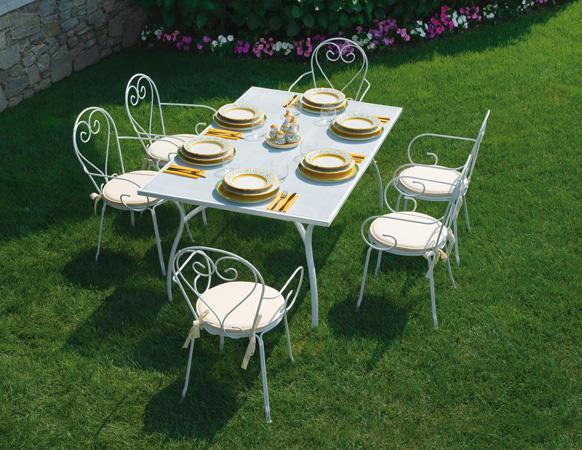 Tavolo da giardino DESENZANO Rettangolare 160x100cm In Ferro Di Colore Avorio RTF 84