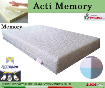 Materasso Memory Mod. Acti Memory da Cm 150x190/195/200 Antiacaro Antistress Sfoderabile Altezza Cm. 20 - ErgoRelax