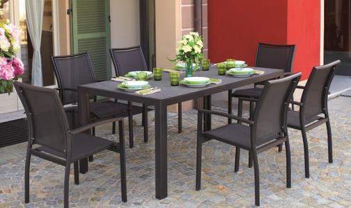Tavolo da giardino TERRACINA 180X90 CM in alluminio  con piano in vetro  RTY 14