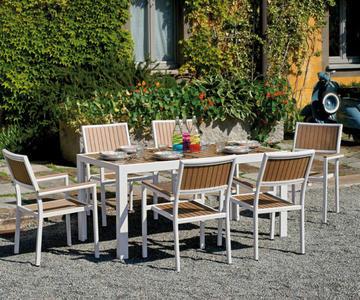 Tavolo canazei allungabile 180 250 96 cm piano in resin for Arredamento da giardino usato