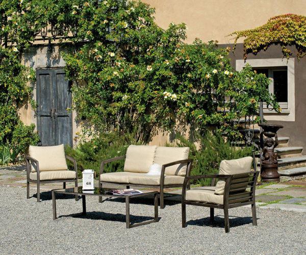 Salottino da giardino COFFEE SET CERNOBBIO alluminio color legno 2 poltrone 1 divano 2 posti e tavolino SWL 05