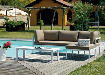 Salottino da giardino angolare CORNER SET MARACANA' alluminio bianco 1 divano 2 posti 1 chaise longue e tavolino SET 22