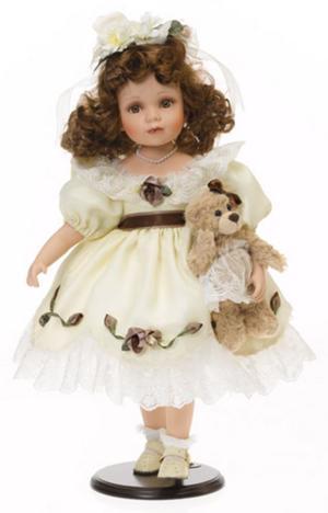 Bambola da Collezione in Porcellana con Vestito Chiaro e Orsacchiotto RF Collection Qualità Made in Germany