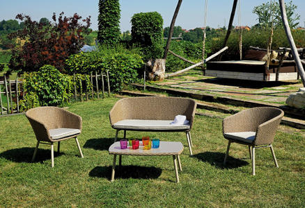 Salottino da giardino moderno COFFEE SET MALAGA  in wicker grano con 2 poltrone  1 divano  1 tavolino  SET 64