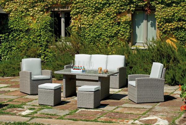 Set salotto da giardino SET VALENCIA struttura in alluminio wicker grigio chiaro 2 poltrone  1 divano  1 tavolino  2 sgabelli  SET 66