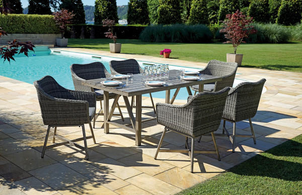 Set poltrone e tavolo da giardino DINING SET TOLEDO struttura in alluminio color legno  wicker grigio melange DS 04