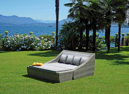 Lettone da 4 posti per giardino con poggiapiedi in wicker grigio melange LETTONE TOLEDO in due pezzi OASI 4