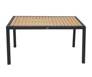 Tavolo da giardino BORDEAUX fisso 150x90 piano resin wood rattan sintetico WENGE RTW 56W