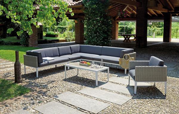 Salottino da giardino angolare CORNER SET PULA  angolo a 6 posti 1 poltrona 1 tavolino SET 73