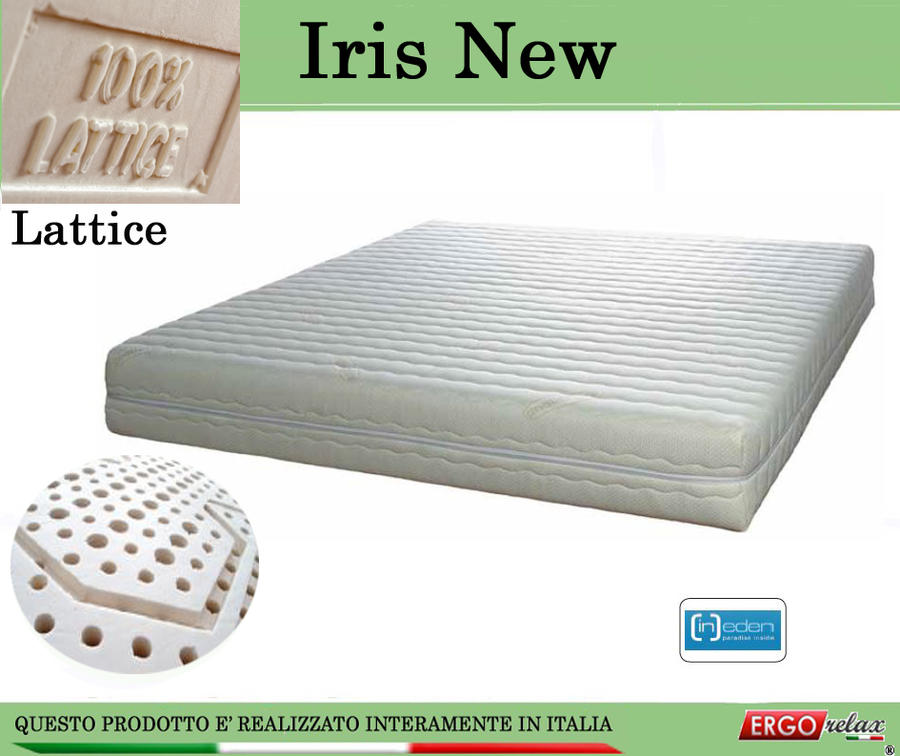 Materasso in Lattice 100% Mod. Iris da Cm 85x190/195/200 a Zone Differenziate Sfoderabile - Ergorelax