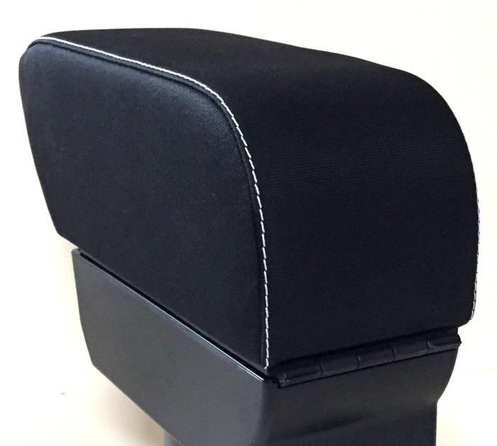 Mittelarmlehne für Smart 453 (2014>) in Stoff schwarz mit weißen Nähte