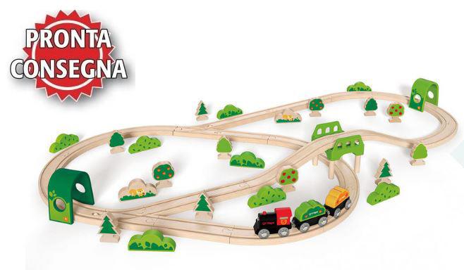 Set Ferrovia Treno nella Foresta in Legno Hape - Offerta