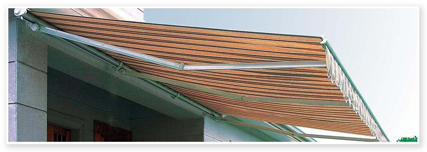 Tenda da sole da muro 300x240 poliestere 300 gr resinato telaio alluminio rigato giallo grigio TEN71
