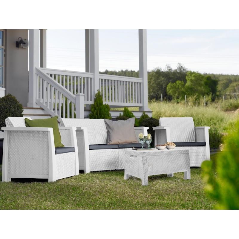 Set Salotto da Giardino in resina KETER Set DENVER 4 Pz Bianco con cuscini Grigio 17201590