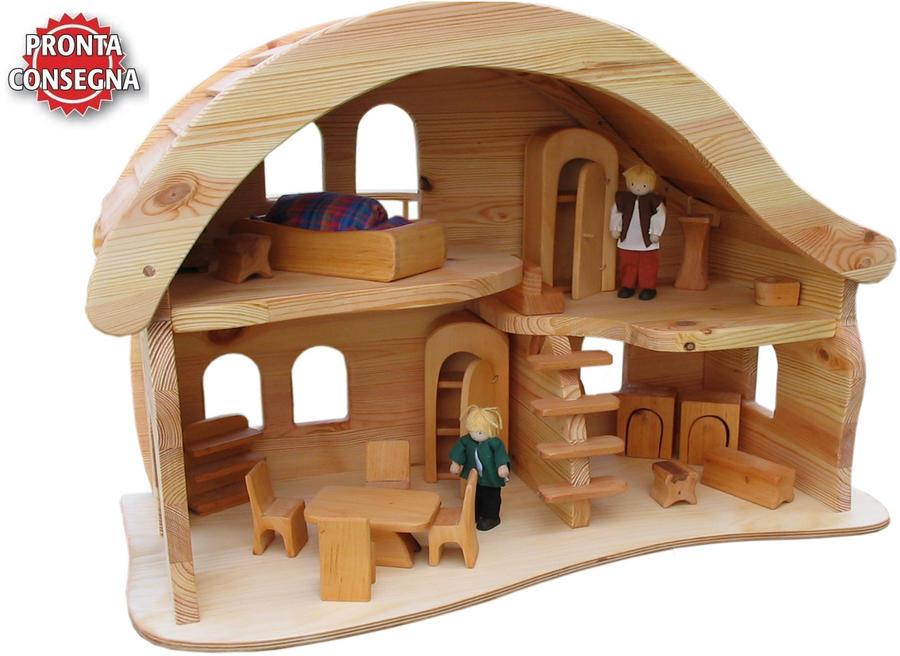 Casa bambole casa delle bambole casa legno casa bambini for Piani di casa con seminterrato sciopero sul retro