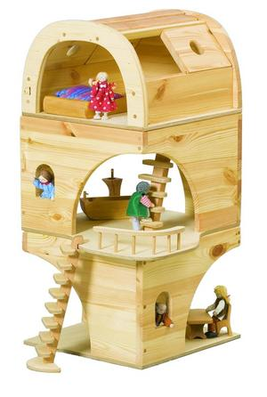 Casa delle Bambole Tonda in Legno Massello Componibile di Verneuer