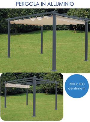 Gazebo Pergola da giardino SILVIA 3X4 M Struttura In Alluminio Telo Retrattile Da Arredo Giardino