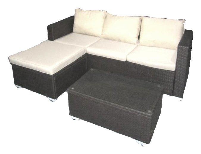 Set Divanetto 3 posti con penisola e tavolino in polyrattan Dark Grey