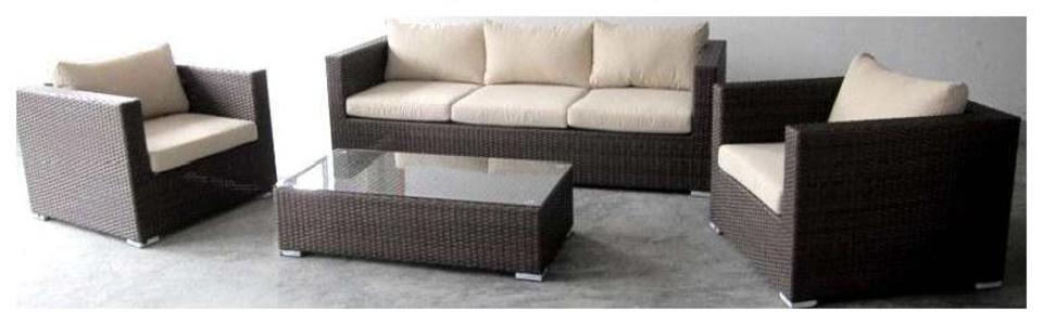 Set salotto da giardino ISONZO ISCIA in polyrattan marrone ed alluminio divano 3 posti 2 poltrone e tavolino