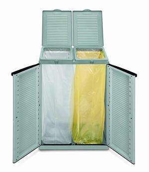 Terry Armadietto a 2 ante doppio sacco per raccolta differenziata 68x39x88,7 cm resina colore grigio ECOCAB 2