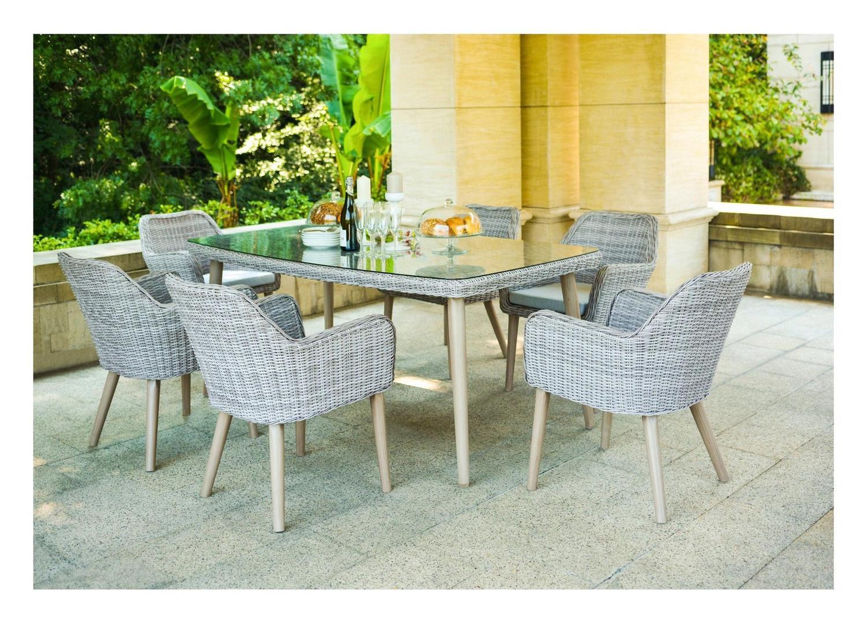 Prodotto descrizione generale set eden grigio tavolo cm 180x100 e 6 poltrone struttura - Tavolo vetro temperato opinioni ...