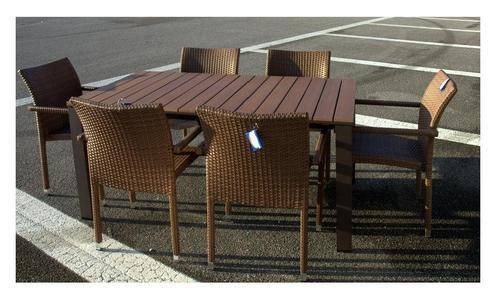 Tavolo da giardino IMMENSO ALLUNGABILE 240 cm x 90 con 6 comode poltrone colore Marrone