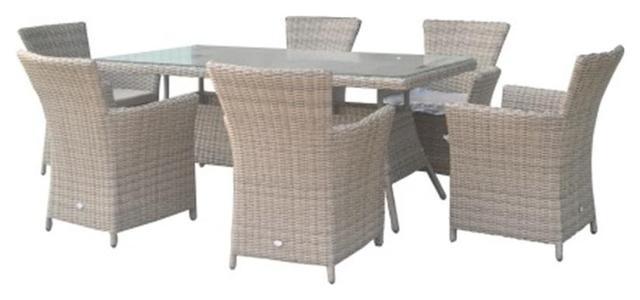 Set da giardino in polirattan FIRENZE Tavolo da Esterno Acciaio 200 cm 100 cm + 6 Poltrone con cuscini