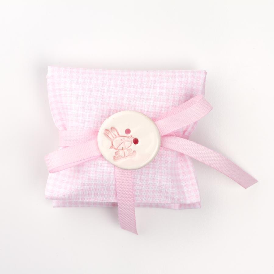 Busta quadratino rosa con applicazione bottone in ceramica