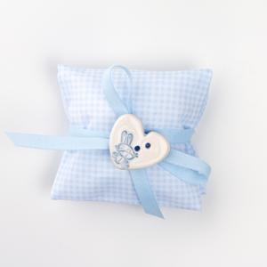 Busta quadratino azzurro con applicazione bottone in ceramica