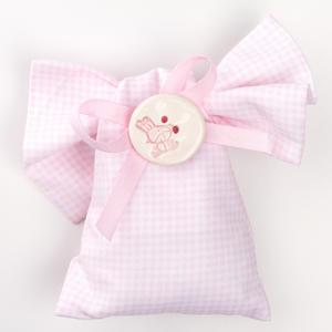 Saccotto nodo quadratino rosa con applicazione bottone in ceramica