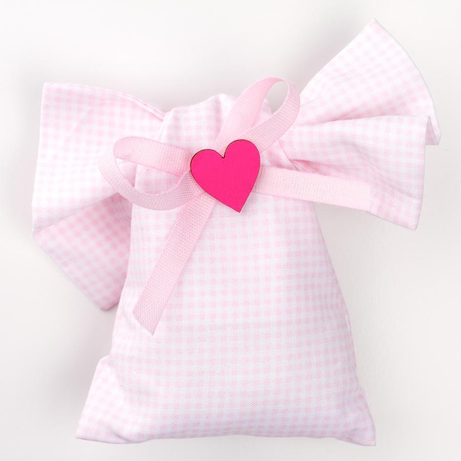 Saccotto nodo quadratino rosa con applicazione cuore legno