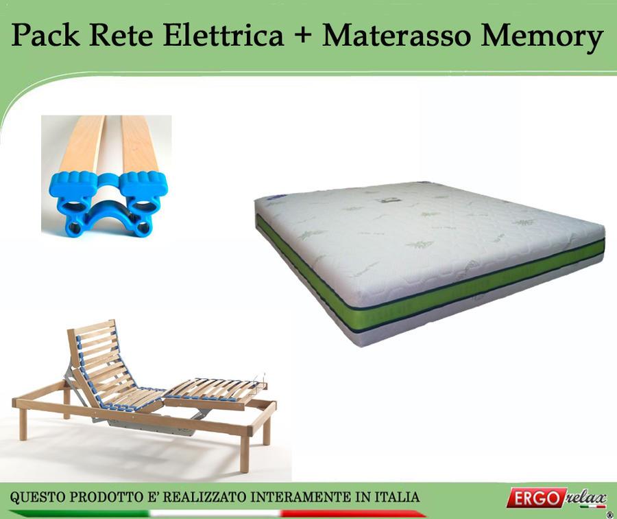 Offerta Pack tutto compreso  Rete Elettrica Maggiore 85x190/195/200 + Materasso Memory Aloe 85x190/195/200 - Ergorelax