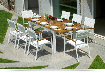 TAVOLO da giardino in teak alluminio AJACCIO allungabile 150/210 x 90 cm RTT 82