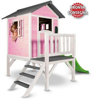 """Casetta per Bambini in Legno di Cedro """"Lodge XL Rosa e Bianca con Scivolo e Veranda"""" di SUNNY"""