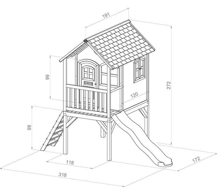 Casetta axi casetta bambini casetta con scala casetta - Casa di legno per bambini ...