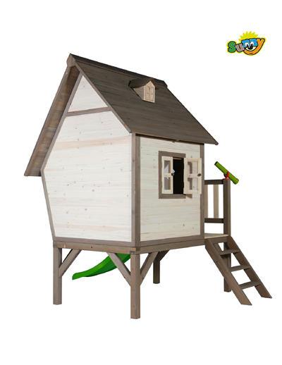 """Casetta per Bambini in Legno di Cedro """"Cabin XL con Scivolo e Veranda"""" di SUNNY"""