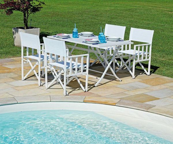 Tavolo da pranzo LIVORNO 140×80 pieghevole – alluminio sandy bianco RTA 31