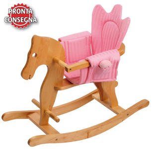 Cavallino a Dondolo in Legno Naturale con Sedile Doppio Rivestitimento per Bambini di Legler