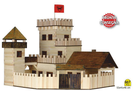 """Costruzioni in Legno Naturale per Bambini Kit """"Castello"""" da 607 pezzi Walachia - Offerta"""