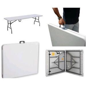 Tavolo da giardino Richiudibile Pieghevole in metallo e PVC bianco 180X75X74H cm 996516